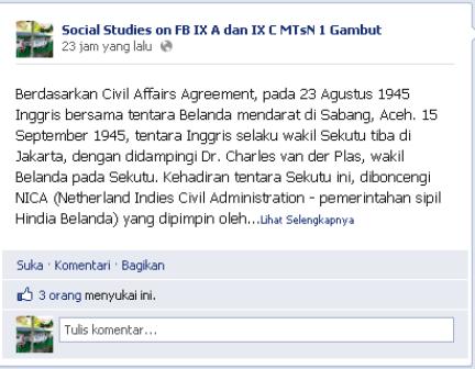 Screen Shot, FB Sebagai Pembelajaran